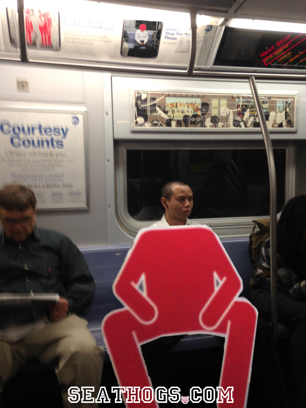 Interesting Halloween Costume Idea - Dress in a Red Body Suit and Hog Seats On the Subway.